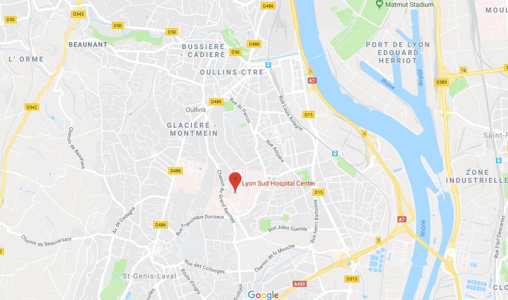Localisation du Centre hospitalier Lyon-Sud. | Google Maps