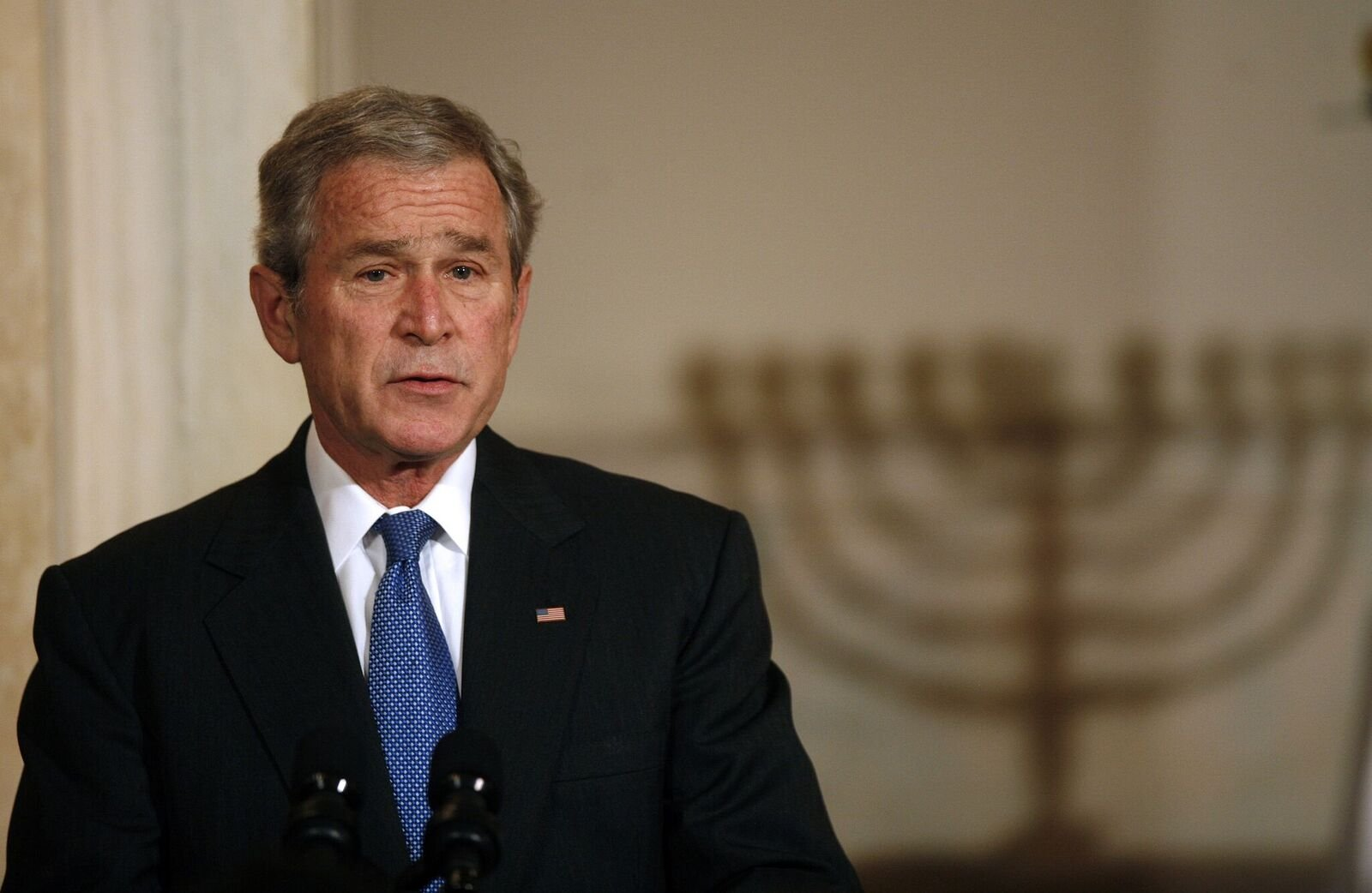 George W. Bush at a Hanukkah Reception in the Grand Foyer of the White House on December 15, 2008, in Washington, DC | Photo: Aude Guerrucci-Pool/Getty Images