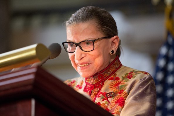 U.S. Supreme Court Justice Ruth Bader Ginsburg speaks at an annual Women's History Month reception hosted by Pelosi in the U.S. capitol building on Capitol Hill in Washington, D.C. | Source: Getty Images.