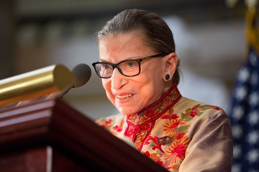 Justice Ruth Bader Ginsburg speaks at an annual Women's History Month reception in the U.S. capitol building. | Photo: Getty Images