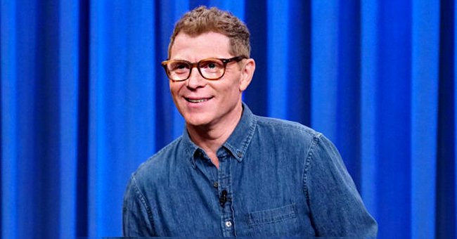 """Bobby Flay pictured on """"Late Night with Seth Meyers"""" in 2019. 