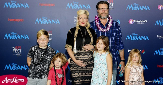 Tori Spelling is seen with her hubby and five kids as they spend family time on a ski vacation