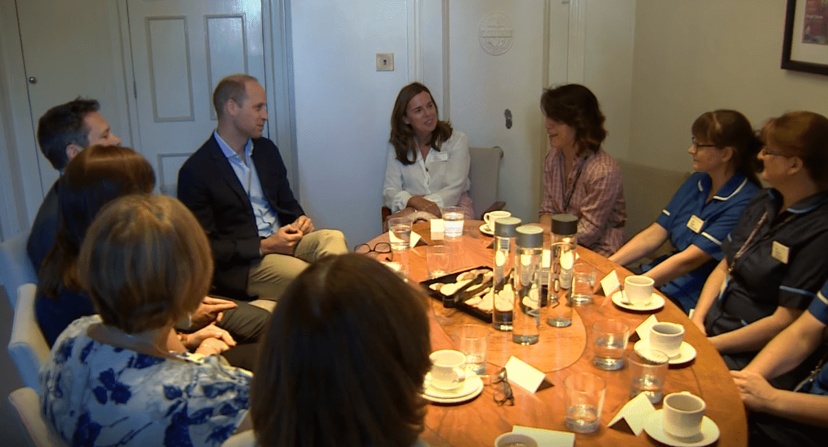 Prince William talks to the staff members at The Royal Marsden. | Source: YouTube/TheRoyalFamilyChannel