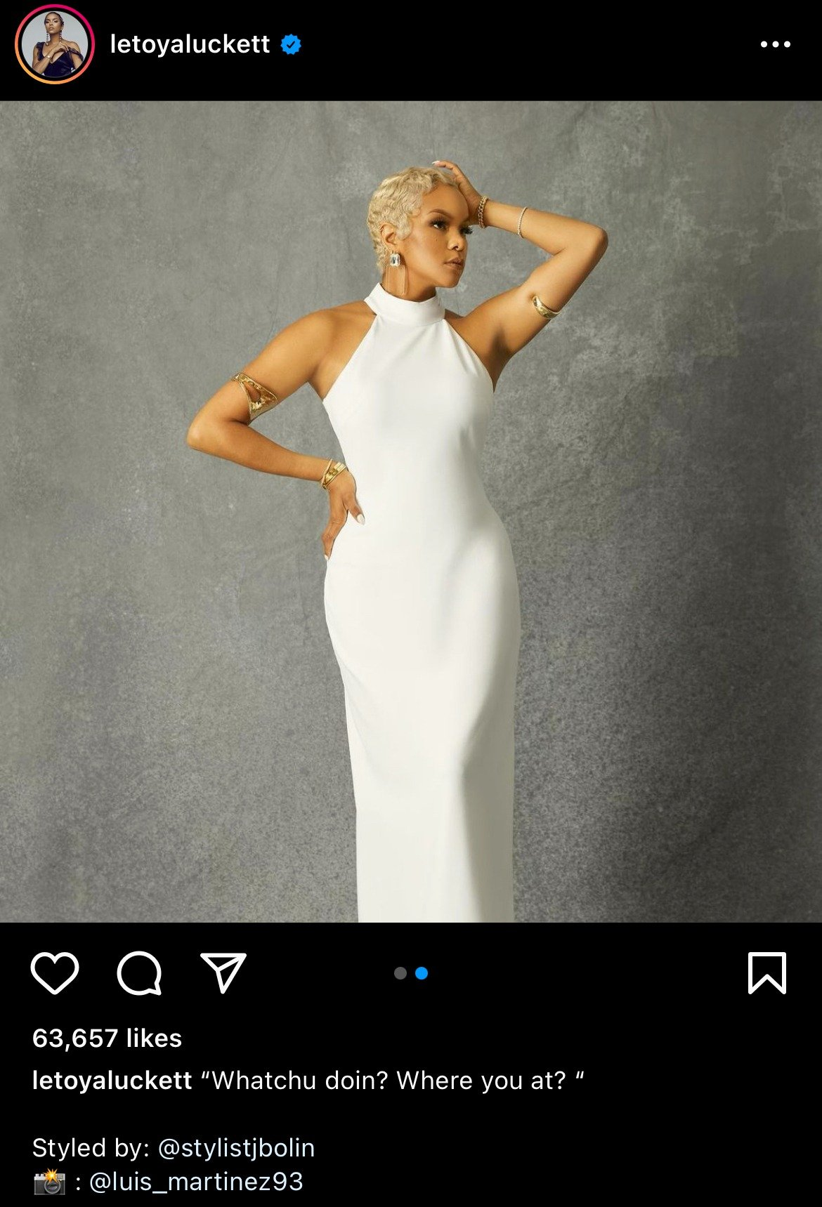 LeToya Luckett wearing a gorgeous white dress showing her curves and her new figure. | Photo: instagram.com/letoyaluckett