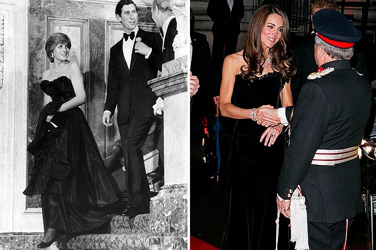 Princess Diana in March 1981 and Duchess Kate Middleton in December 2011 | Photo: Getty Images