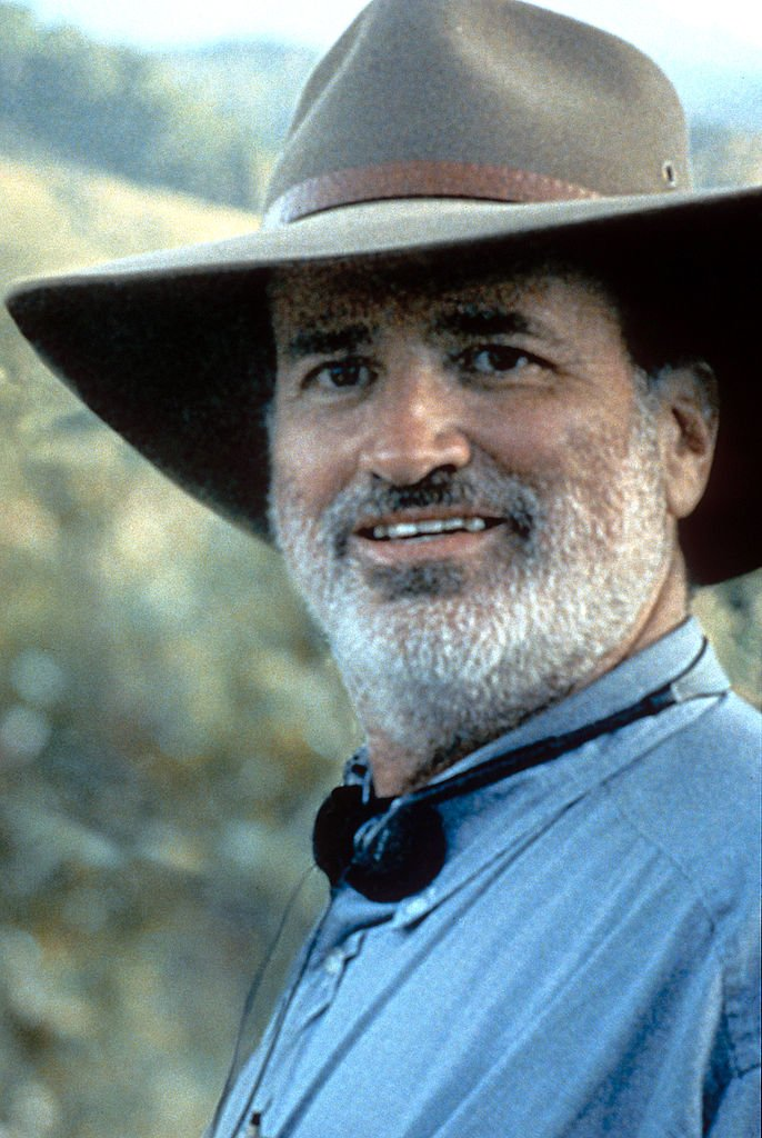 "Terrence Malick pictured at onset during the filming of ""The Thin Red Line."" 1998. 