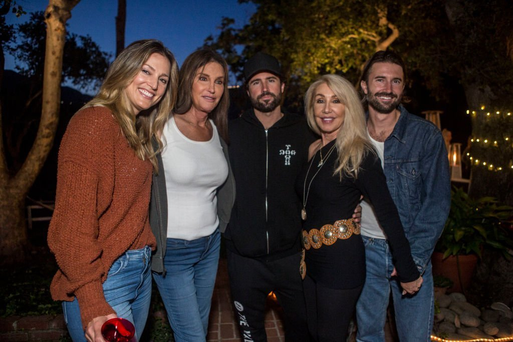 """Cassandra Marino, Caitlyn Jenner, Brody Jenner, Linda Thompson and Brandon Jenner pose at Brandon Jenner's Interactive Party For His New Single """"Death Of Me"""" on May 11, 2019, in Malibu, California. 
