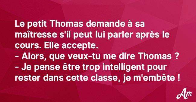 Le petit Thomas demande à sa maîtresse de lui parler après la classe