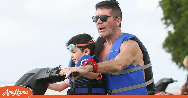 Simon Cowell jet-skiing with his son Eric on December 18, 2019, in Bridgetown   Photo: Getty Images