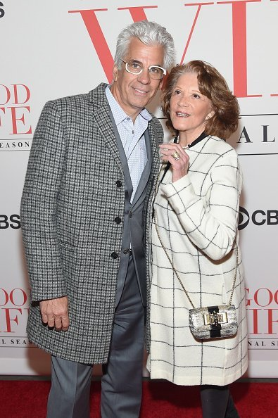 "Steve Bakunas (L) and Linda Lavin attend ""The Good Wife"" Finale Party at Museum of Modern Art on April 28, 2016, in New York City. 