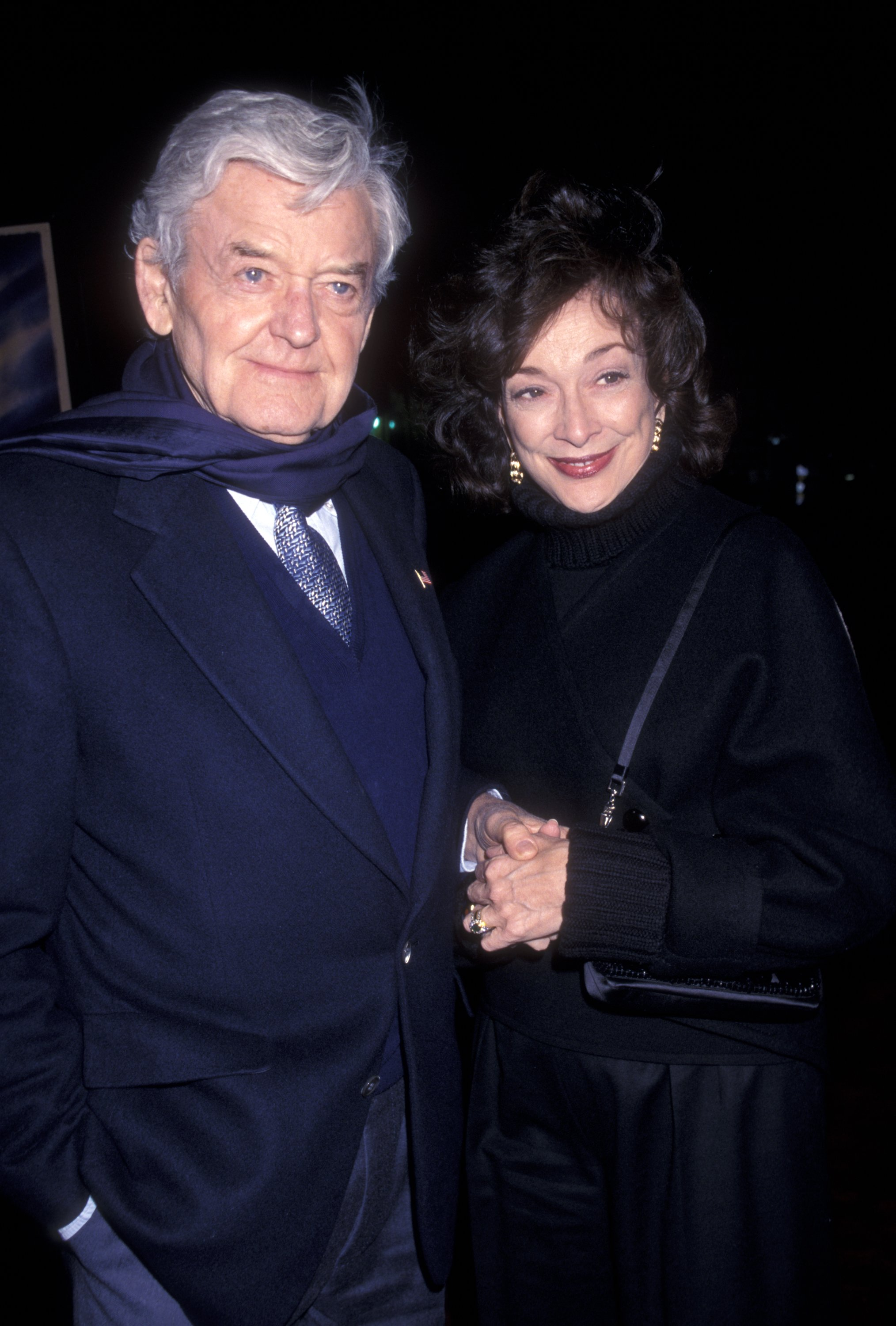 """Actor Hal Holbrook and wife Dixie Carter attending the world premiere of """"The Majestic.""""  Source 
