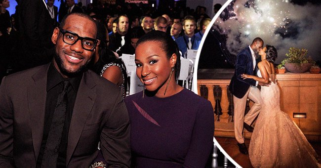LeBron James and Savannah James attending the 2012 Sports Illustrated Sportsman of the Year award at Espace on December 5, 2012 in New York City (left), and sharing a kiss on their wedding day (right) |  Photo: Getty Images and Instagram / @ kingjames