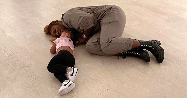Serena Williams' Daughter Melts Hearts as She Lays with Mom on the Floor at an Art Gallery in Precious Photo