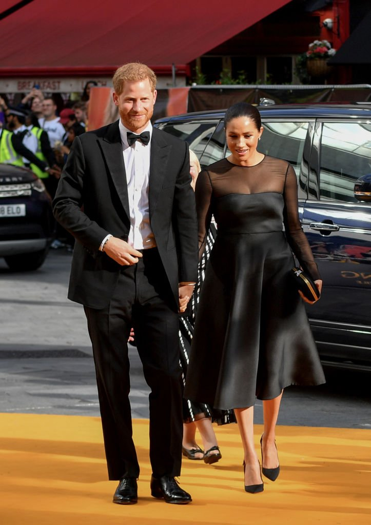 "Duchess of Sussex and Prince Harry, Duke of Sussex attend the European Premiere of Disney's ""The Lion King"" at Odeon Luxe Leicester Square 