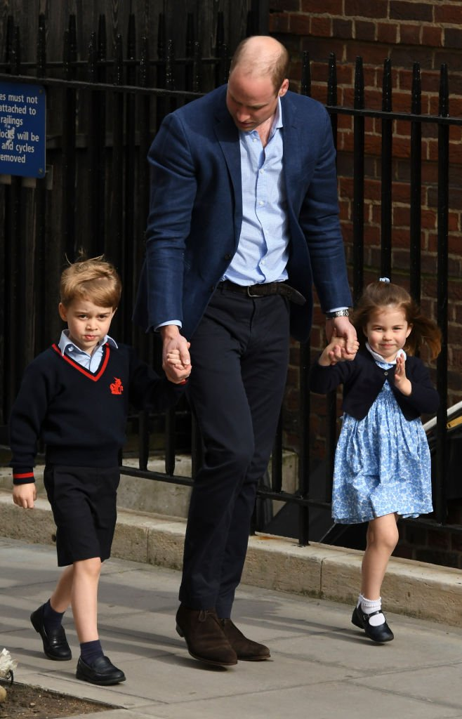 Prince William with Prince George and Princess Charlotte on April 23, 2018, in London, England. | Source: Getty Images.