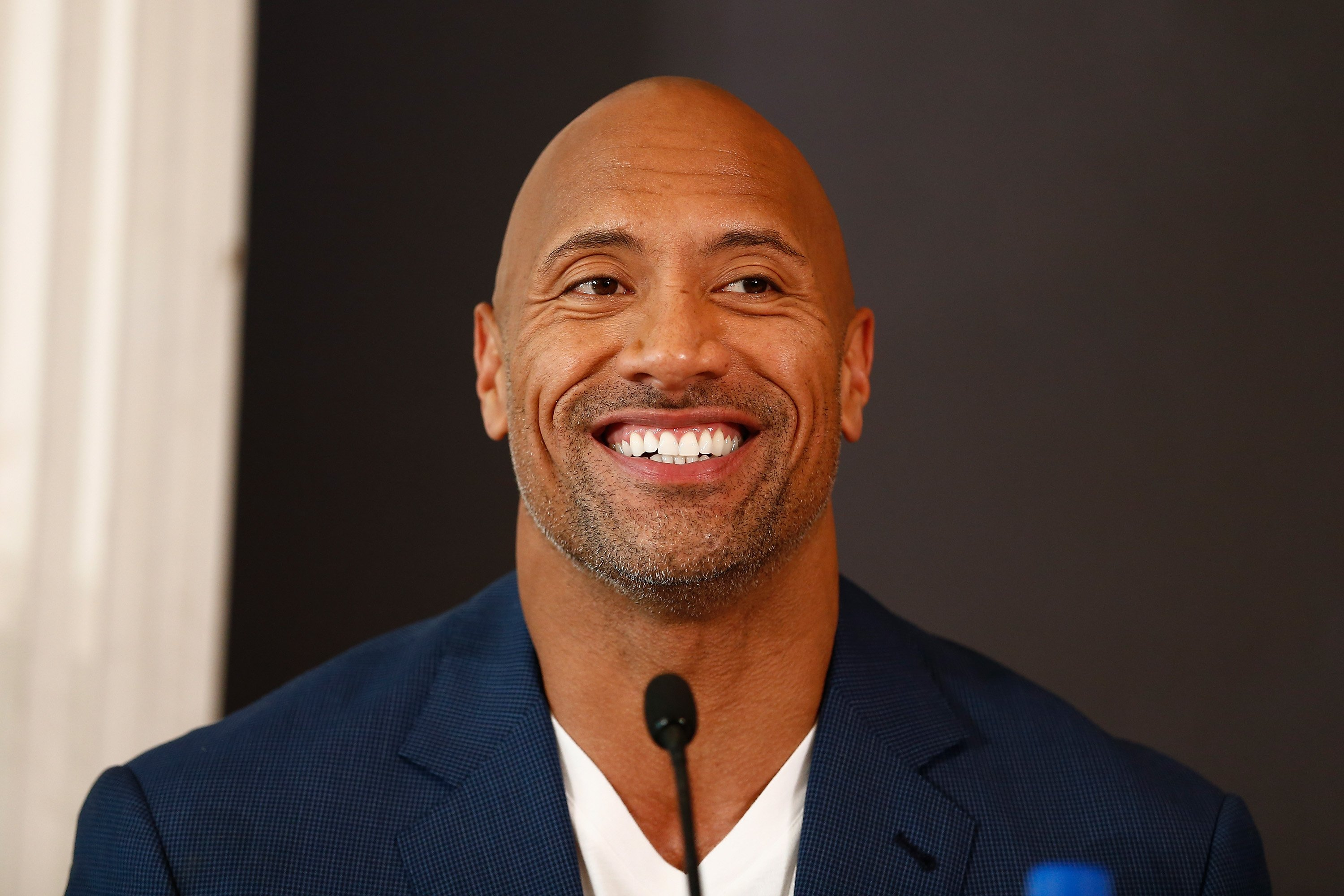 "Dwayne Johnson at a press conference for ""Hercules"" in August 2014. 