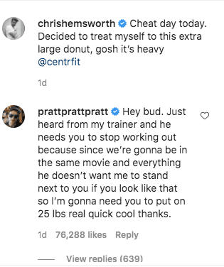 Chris Pratt's comments under a post made by Chris Hemsworth on his Instagram page. | Photo: Instagram/chrishemsworth