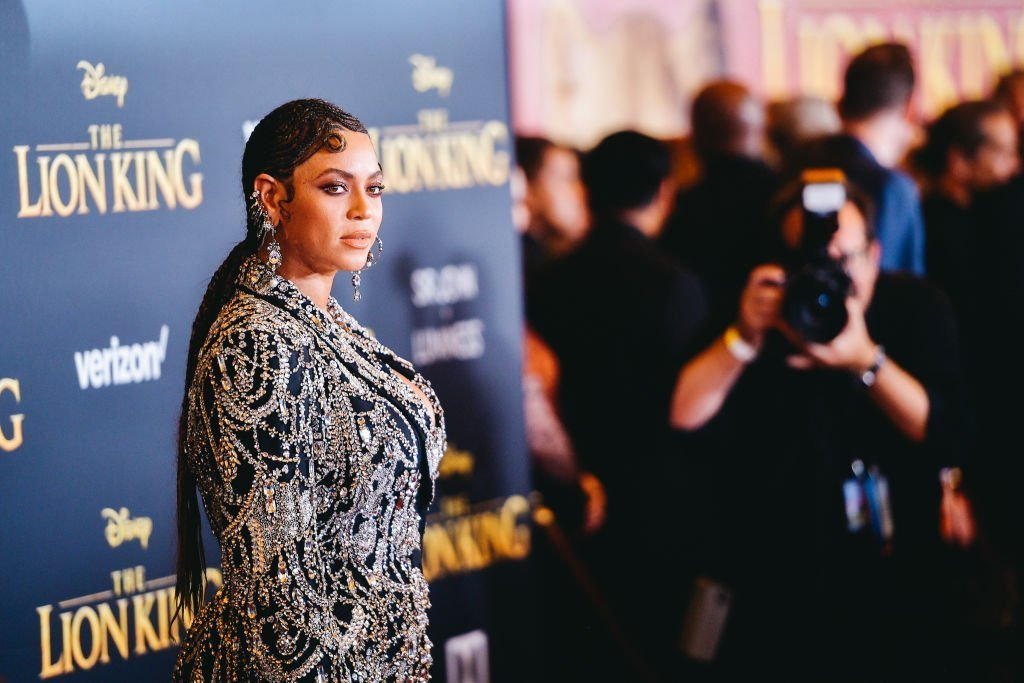 """Beyoncé attends the premiere of Disney's """"The Lion King"""" at Dolby Theatre in Hollywood, California 