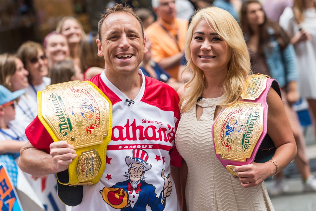 Nathan's Famous Hot Dog Eating Champions Joey Chestnut and Miki Sudio attend the Today Show on July 05, 2019 | Photo: Getty Images