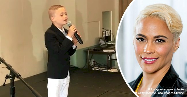 Paula Patton's son sings 'like Aretha Franklin' at school talent show in video by dad Robin Thicke