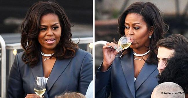 Michelle Obamas Besorgnis eingefangen, als sie vom Notre Dame-Feuer erfuhr