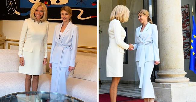Brigitte Macron dans son élégant costume blanc choisi pour une réunion formelle
