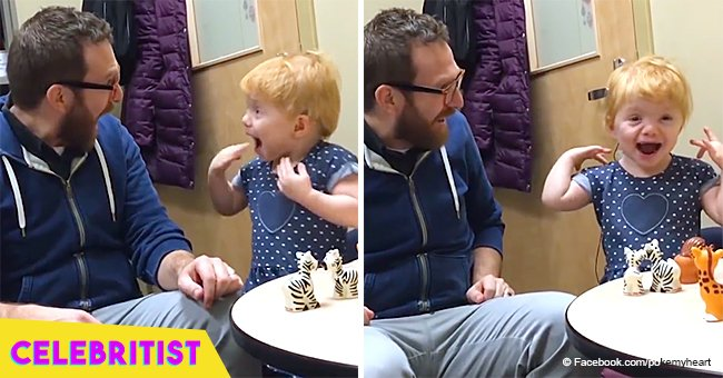 Little girl's reaction to hearing her parents' voice for the 1st time still brings tears to eyes