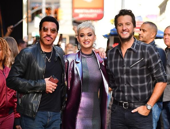 "Lionel Richie, Katy Perry and Luke Bryan leave ABC's ""Good Morning America"" in Times Square on October 4, 2017. 