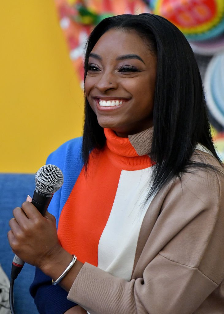 Gymnast superstar Simone Biles during her March 2020 visit to the Lower Eastside Girls Club with SK-II in New York City. | Photo: Getty Images