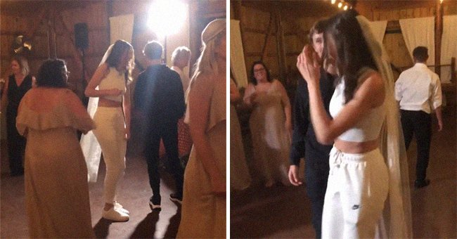 Newlyweds dance in casual tracksuits at their wedding reception   Photo: Instagram/wildwoodfilms