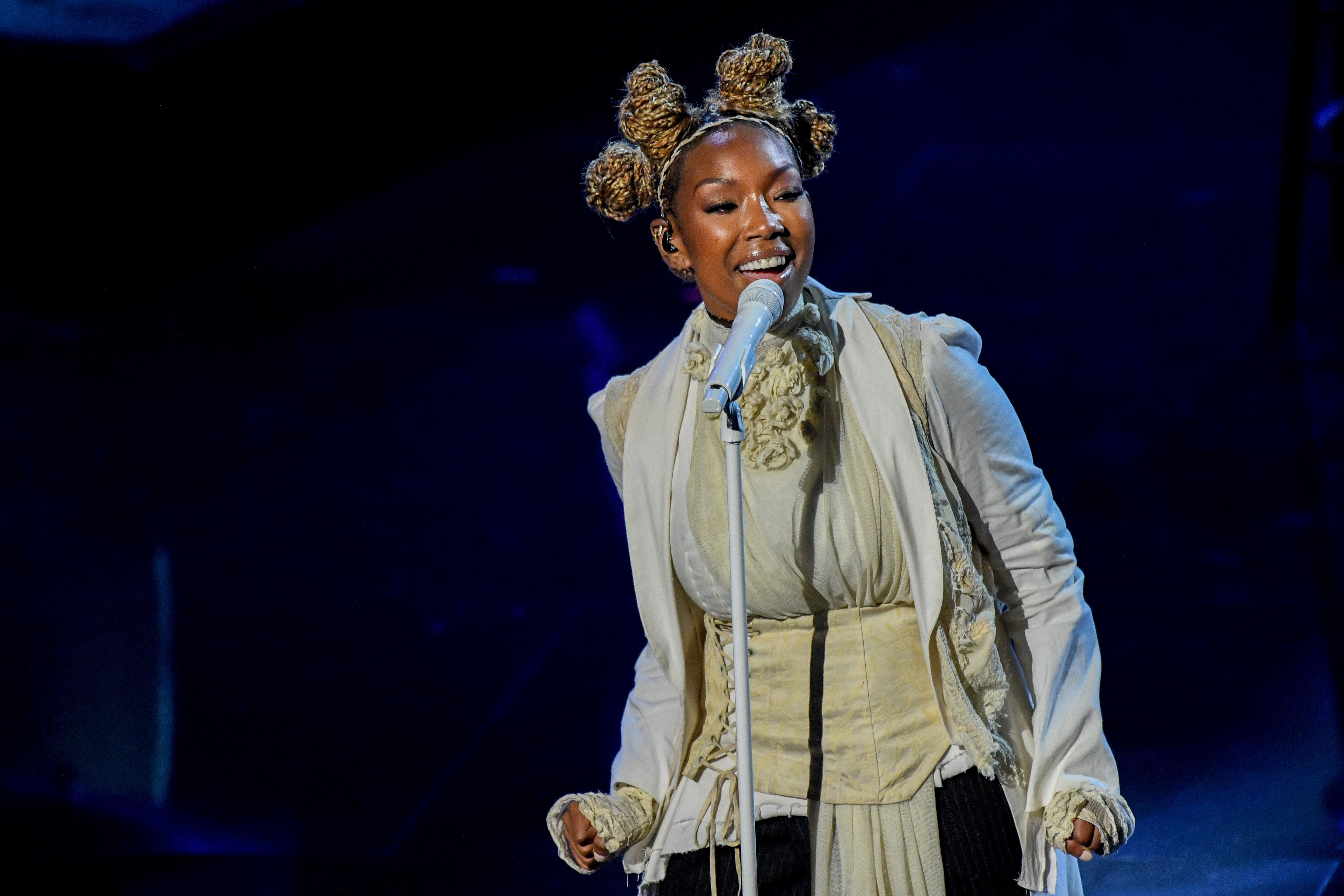 Brandy pictured during a performance at the 2020 Billboard Music Awards at the Dolby Theatre on October 14, 2020, Los Angeles, CA. | Source: Getty Images