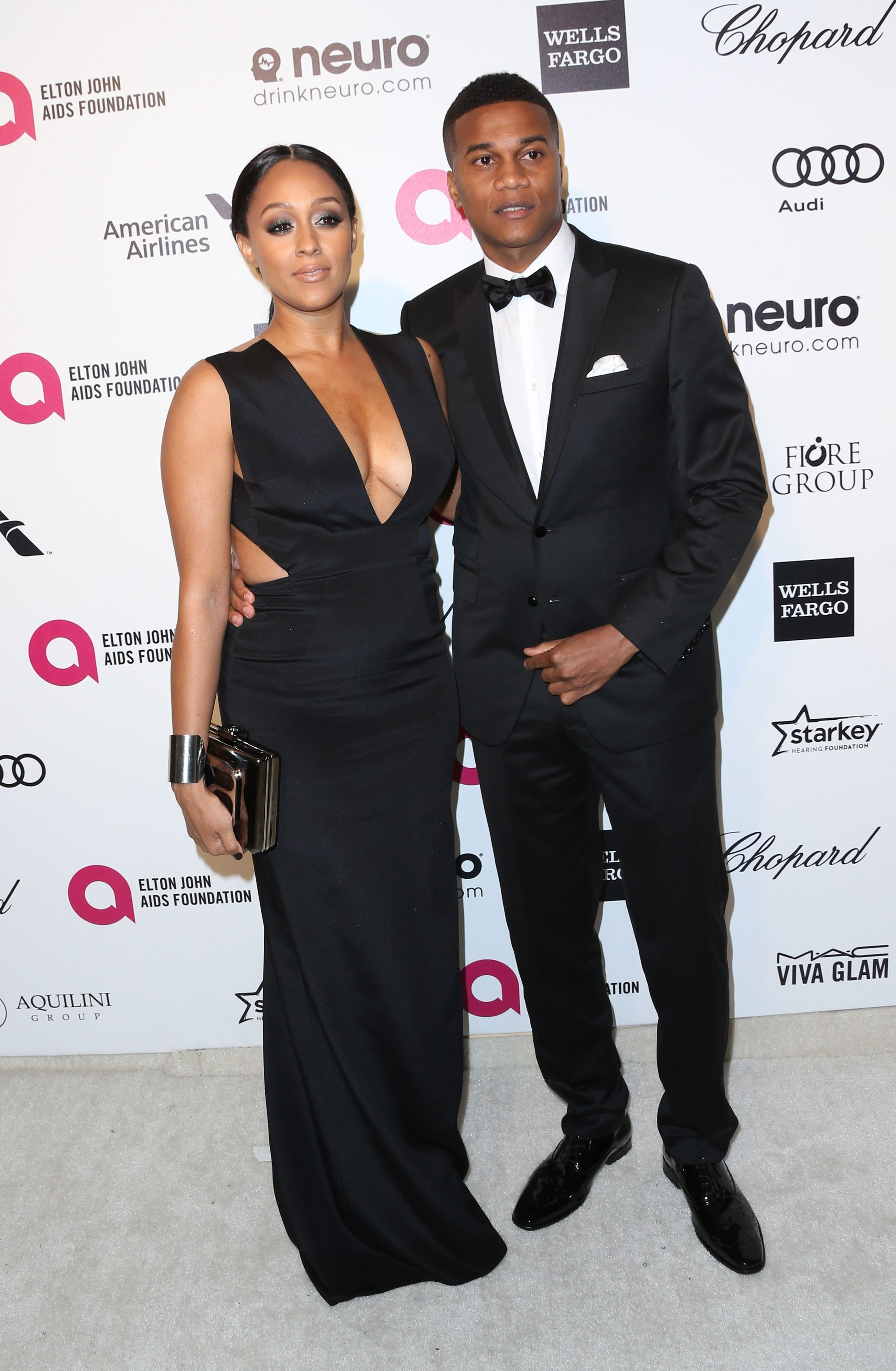 Tia Mowry and Cory Hardict attend the 23rd Annual Elton John AIDS Foundation's Oscar Viewing Party on February 22, 2015 in West Hollywood, California. | Source: Getty Images