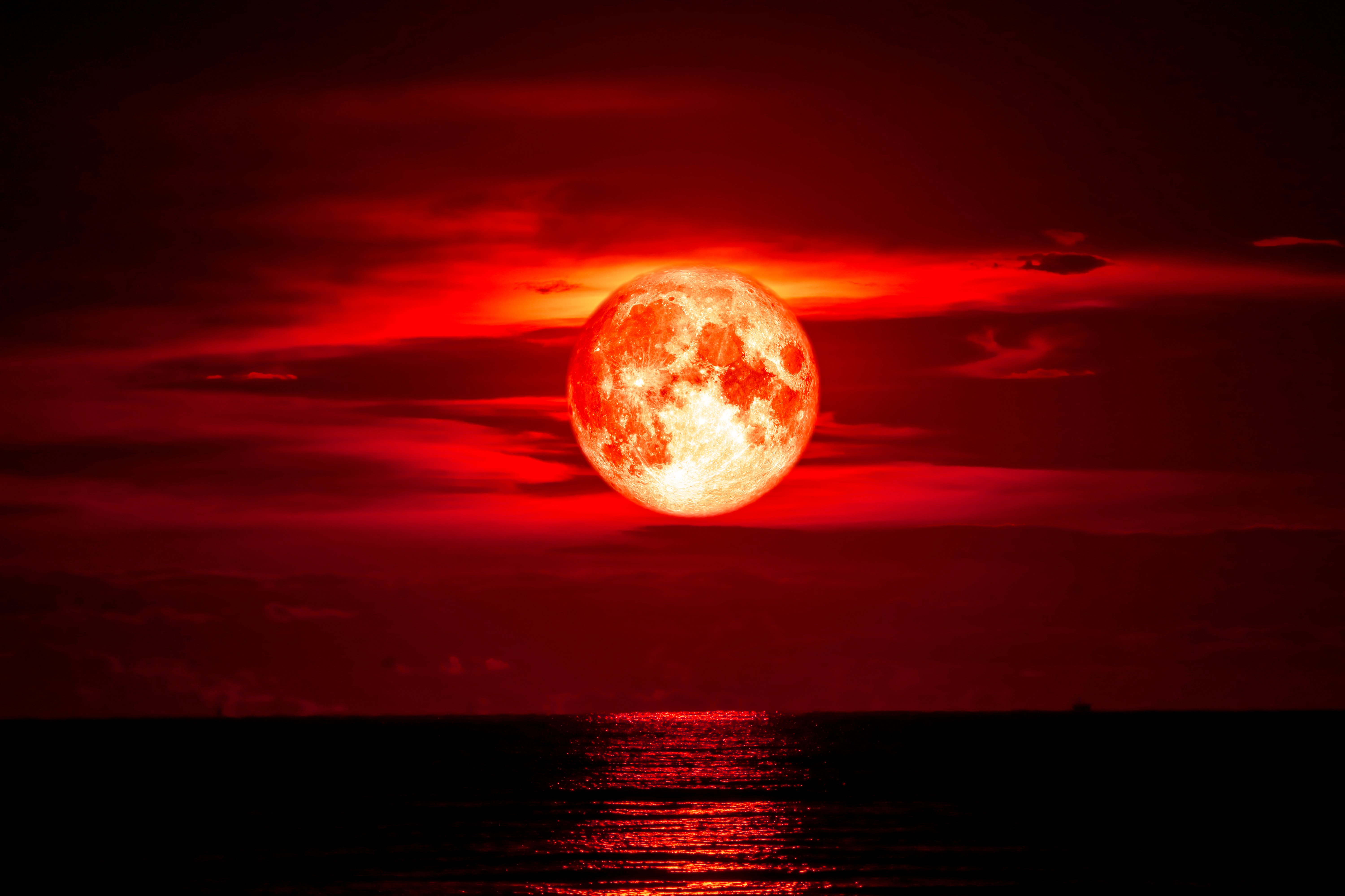 Full blood moon on sea and ocean light sky silhouette cloud, with elements of this image furnished by NASA | Photo: Shutterstock