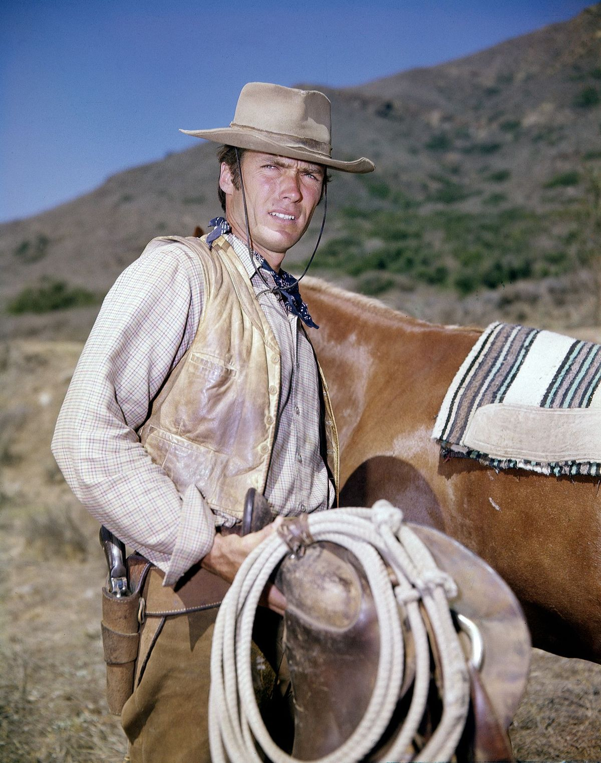 """Clint Eastwood shooting the movie """"Rawhide"""" on May 3, 1964, in Los Angeles 