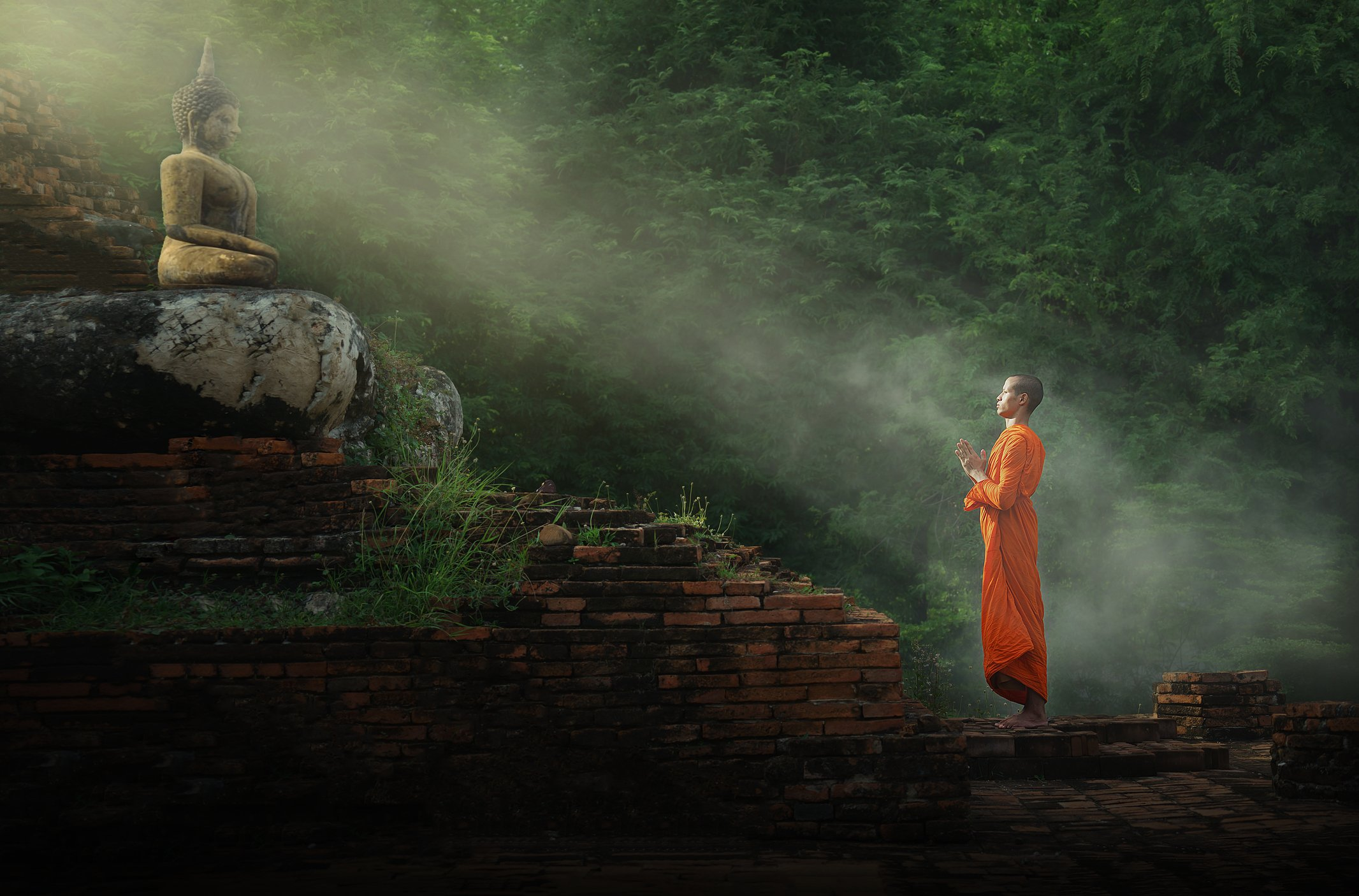A monk worships Buddha Statue. | Photo: Getty Images