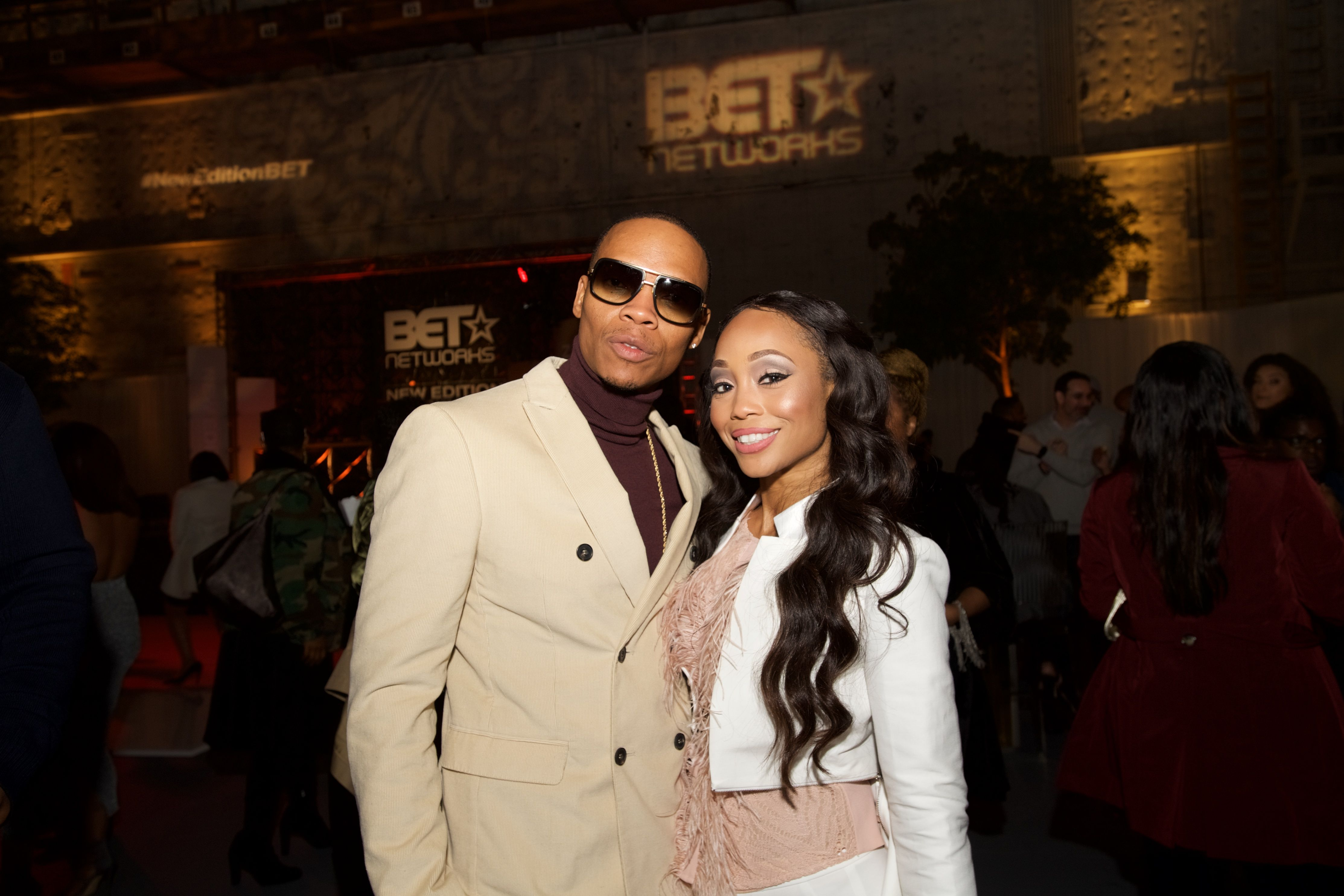 """Shamari DeVoe and husband Ronnie DeVoe at BET's """"The New Edition Story"""" Premiere on January 23, 2017 in L.A. 