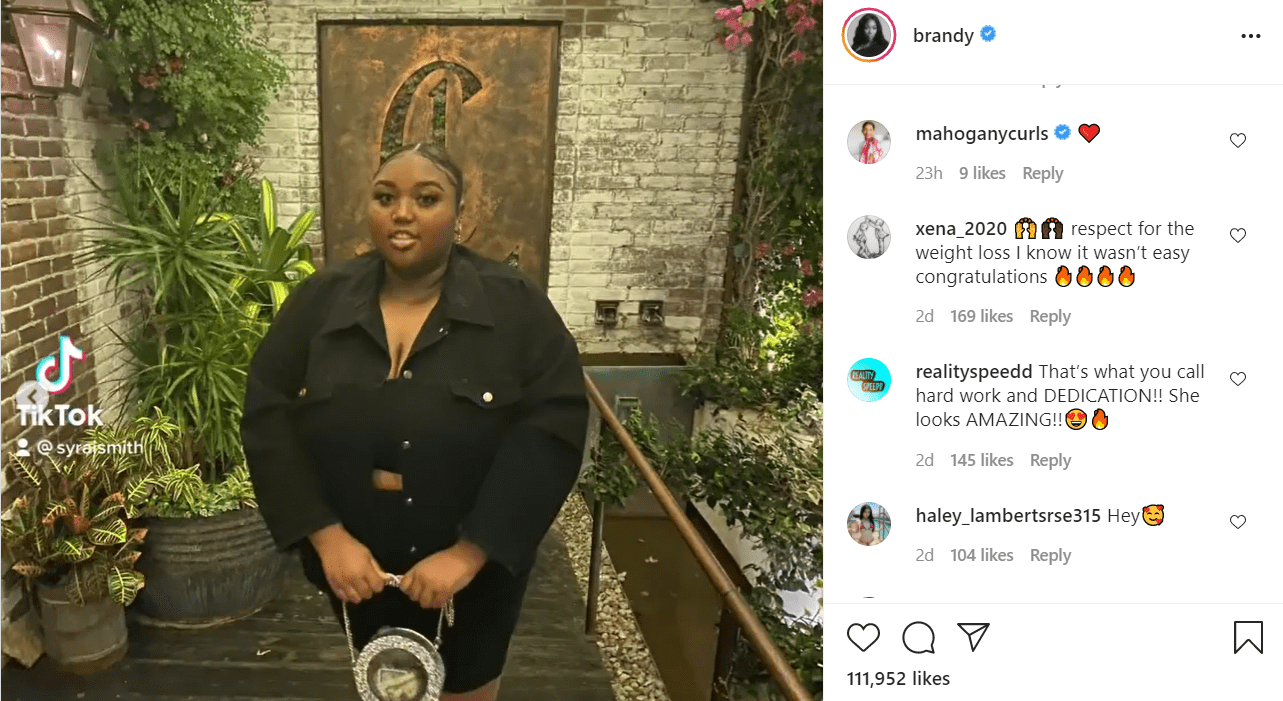 Sy'rai Smith's 'before' picture on Brandy's Instagram, July 2021   Source: Instagram/brandy