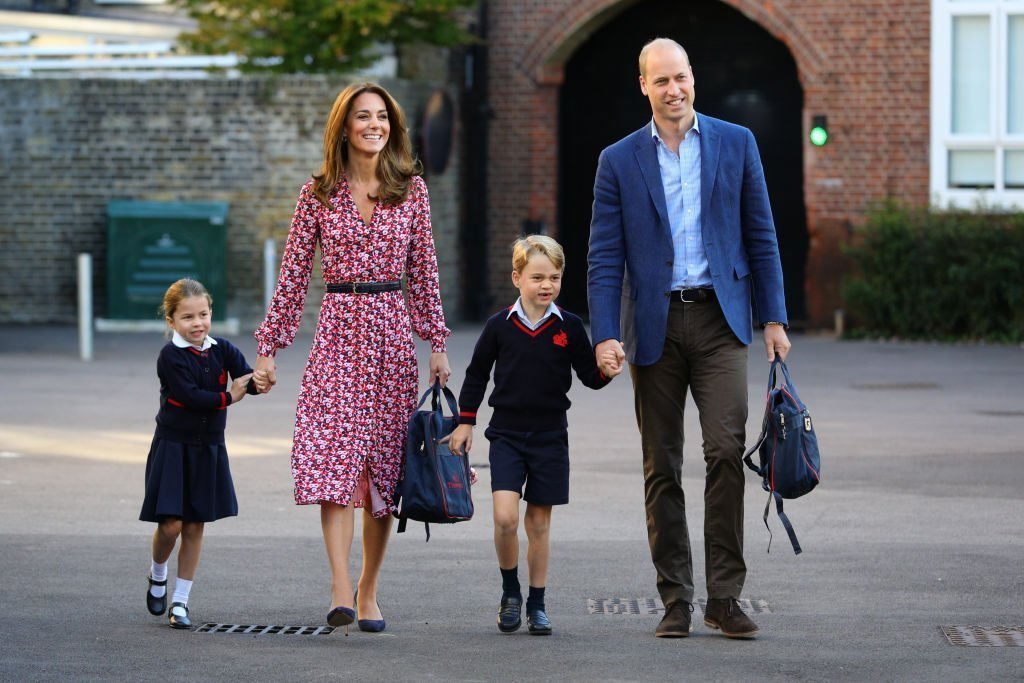 Princess Charlotte arrives for her first day of school, with her brother Prince George and her parents the Duke and Duchess of Cambridge, at Thomas's Battersea in London | Photo: Getty Images