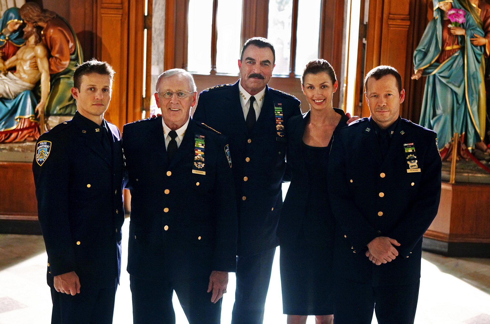 """The cast of """"Blue Bloods"""" pictured in their uniforms for an episode called """"Officer Down."""" 