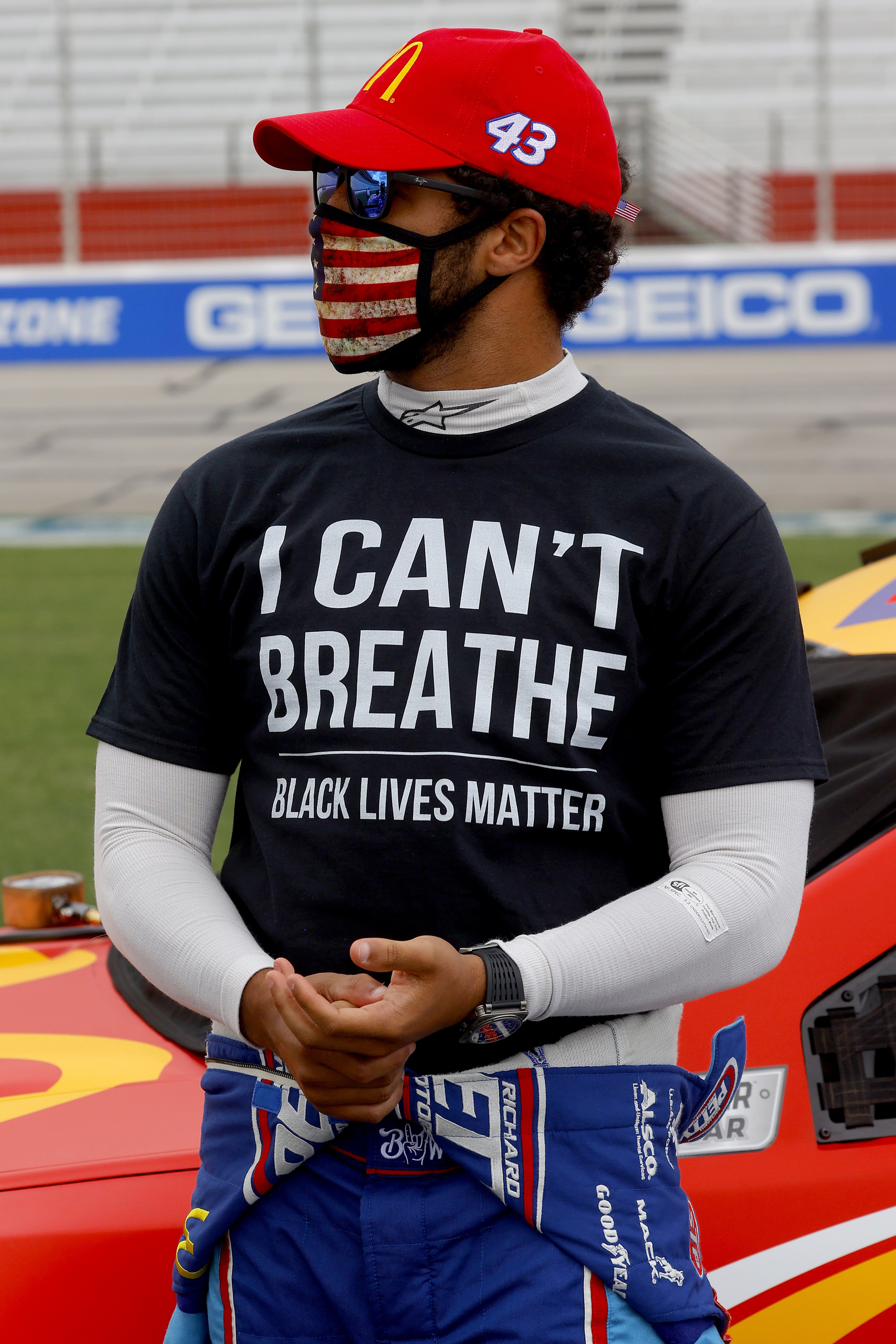 Top NASCAR racer Bubba Wallace donned a statement shirt in solidarity with the black community. | Photo: Getty Images
