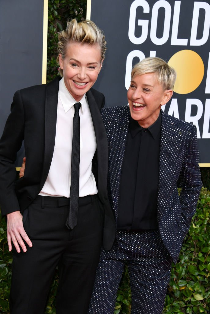Portia de Rossi and Ellen DeGeneres attend the 77th Annual Golden Globe Awards  | Getty Images