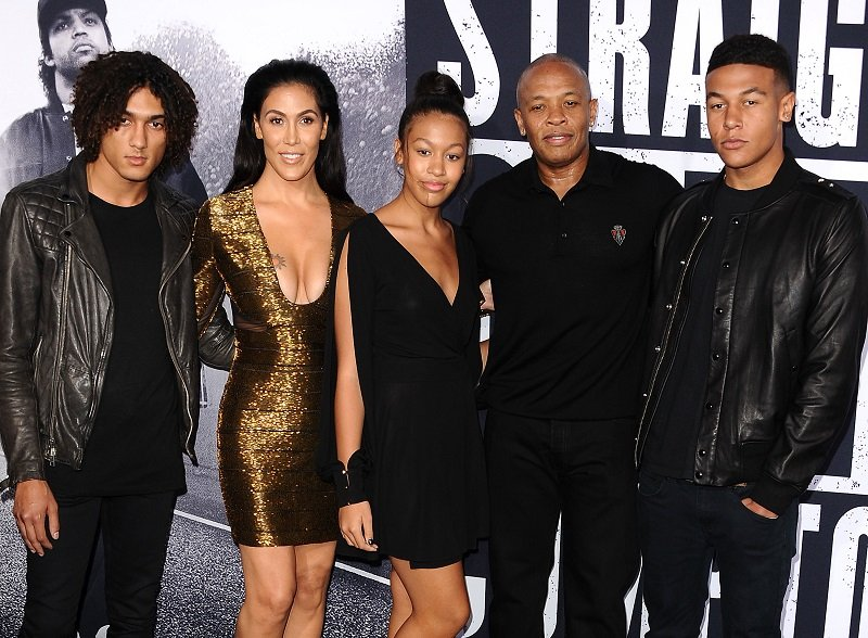 Nicole Young, Dr. Dre, and three of his children: Truly, Truice, and adopted son Tyler on August 10, 2015 in Los Angeles, California | Photo: Getty Images