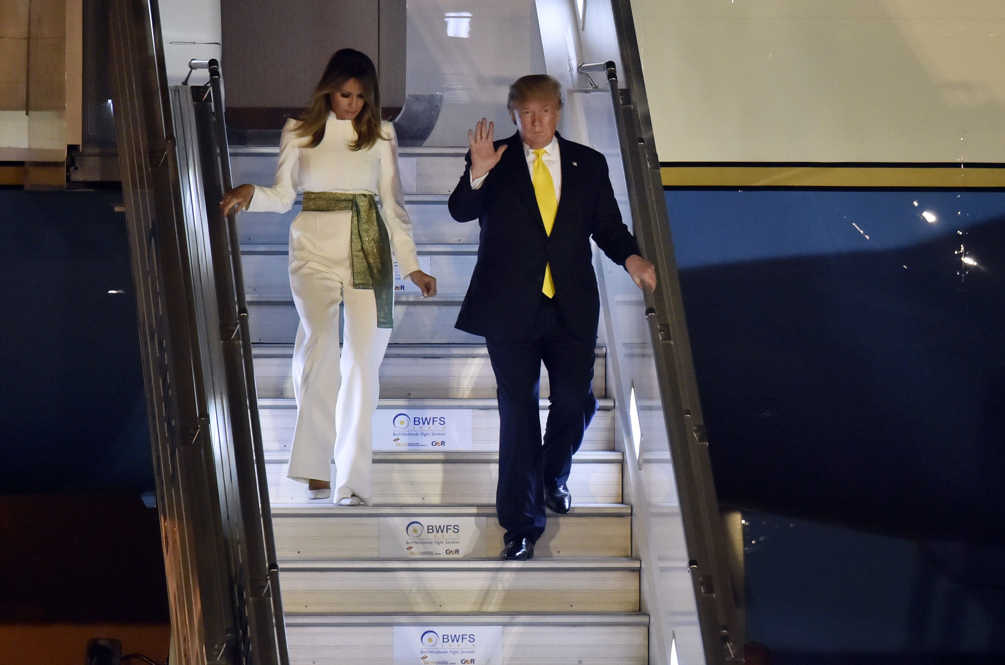 Melania and Donald Trump arrive at Air Force Station, Palam on February 24, 2020, in New Delhi, India | Photo: Ajay Aggarwal/Hindustan Times/Getty Images
