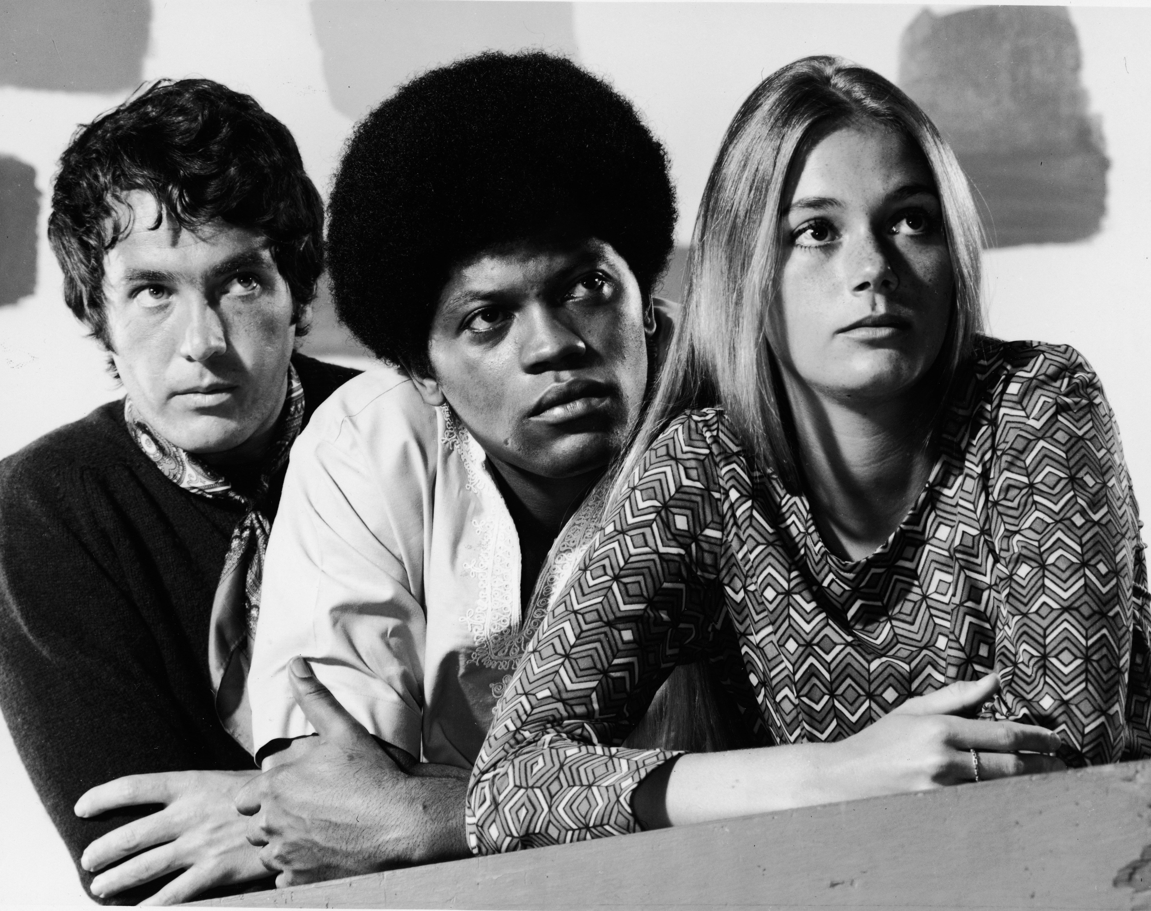 """Peggy Lipton posing with Michael Cole and Clarence Williams III for the show """"The Mod Squad"""" in 1968. 