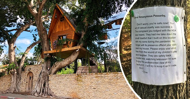 Father leaves letter for a rude neighbor who asked his kids to tear down their treehouse   Photo: Twitter/nypost, Shutterstock