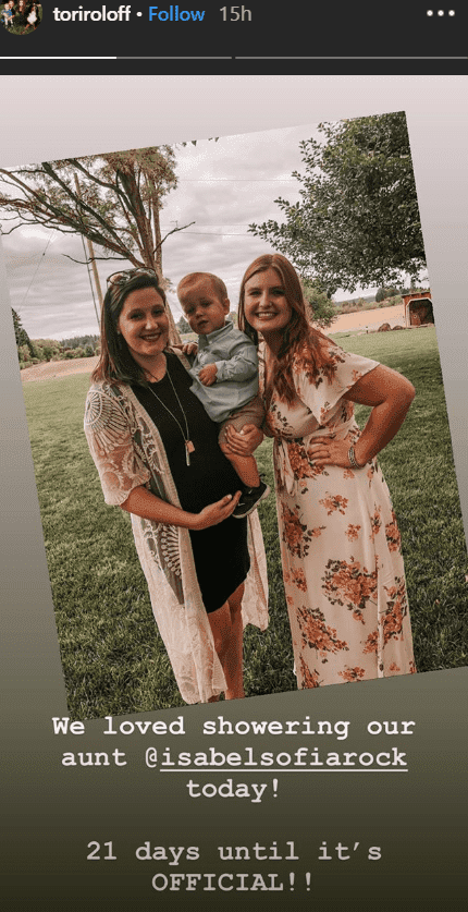 Tori and Jackson Roloff pose with Isabel Rock at her bridal shower | Instagram.com/toriroloff
