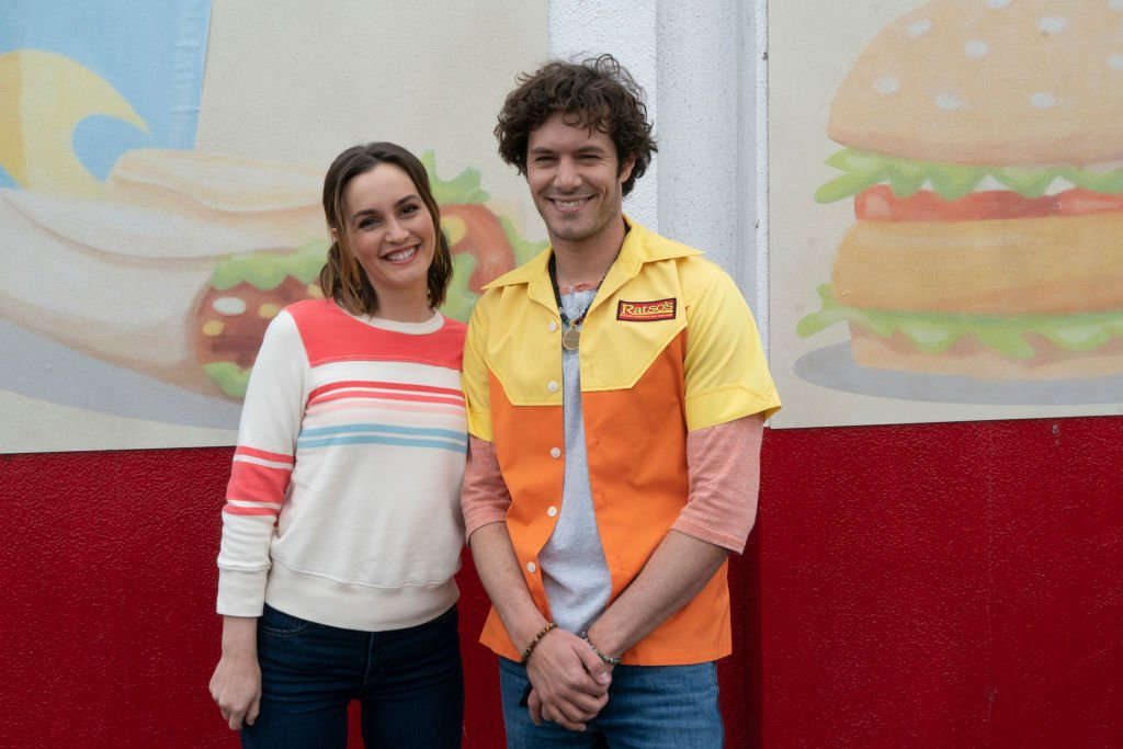Adam Brody and Leighton Meester on the set of ABC's 'Single Parents' Season One, March 2019 | Source: Getty Images