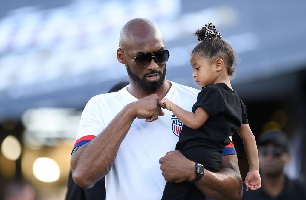 Late NBA star Kobe Bryant and daughter Bianka Bella prior to the Women's International Friendly match between USA and Republic of Ireland at Rose Bowl in Pasadena, California, USA.   Photo: Getty Images
