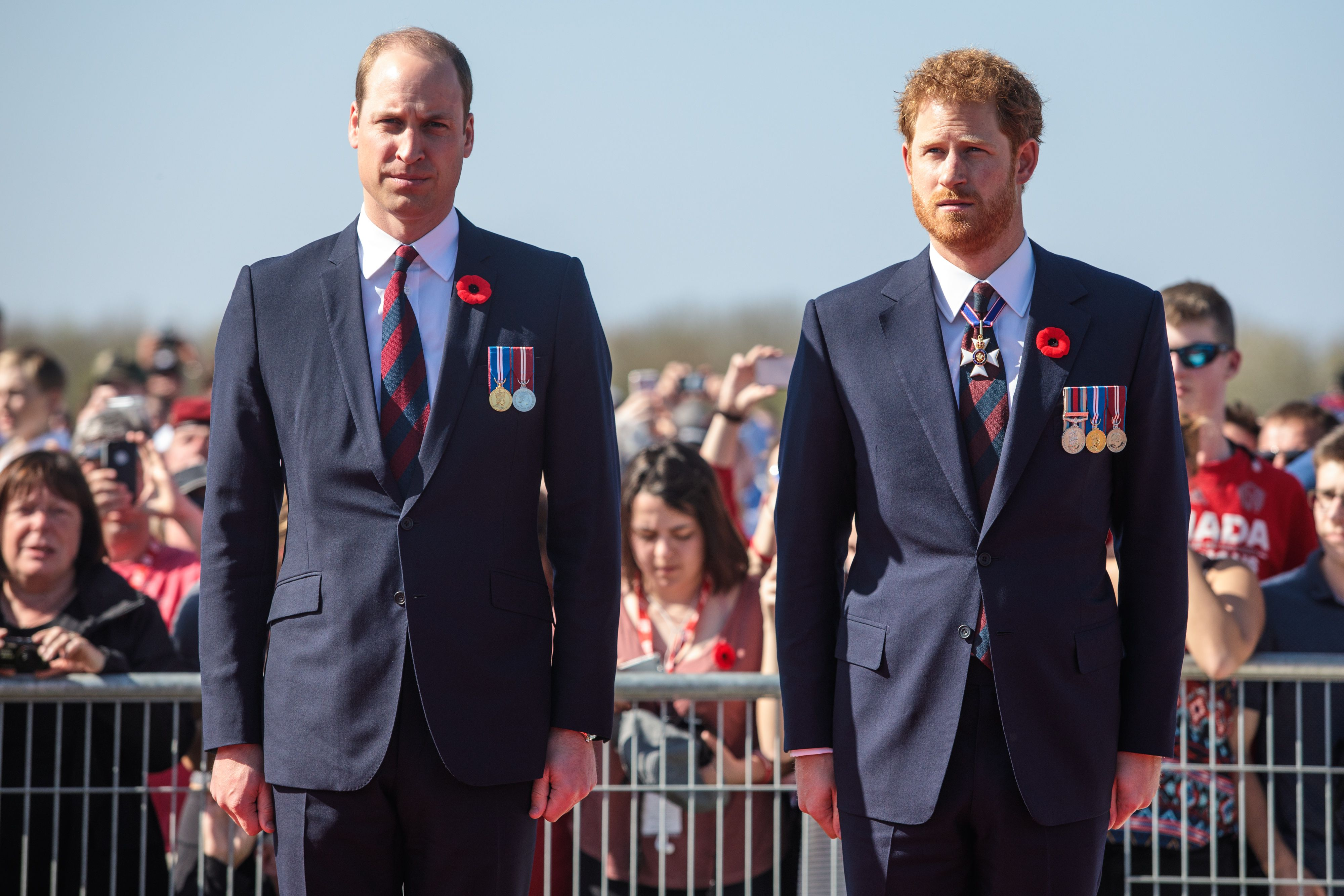 Prince William and Prince Harry at the Canadian National Vimy Memorial on April 9, 2017 in Vimy, France   Photo: Getty Images