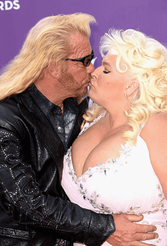 """Duane """"Dog"""" Chapman and Beth Chapman arrive on the red carpet at the 48th Annual Academy of Country Music Awards, on April 7, 2013, in Las Vegas, Nevada 